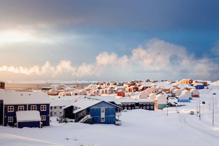 Sunrise over Nussuaq in Nuuk in Greenland