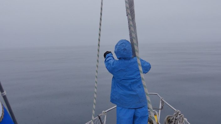 A crew member keeps watch for icebergs during a day of heavy fog.