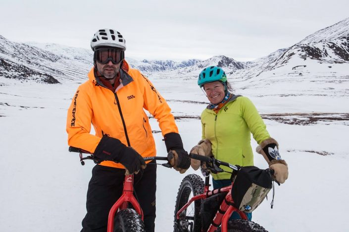 Newly married couple out in nature biking in Sisimiut. Photo by Olafur Rafnar Olafsson