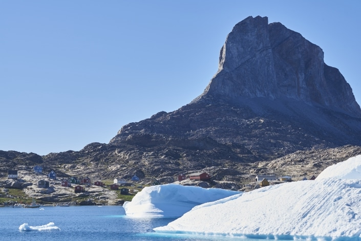 Archean gneisses tower over the town of Uummannaq, central west Greenland. Photo by Vagn Hansen(2)