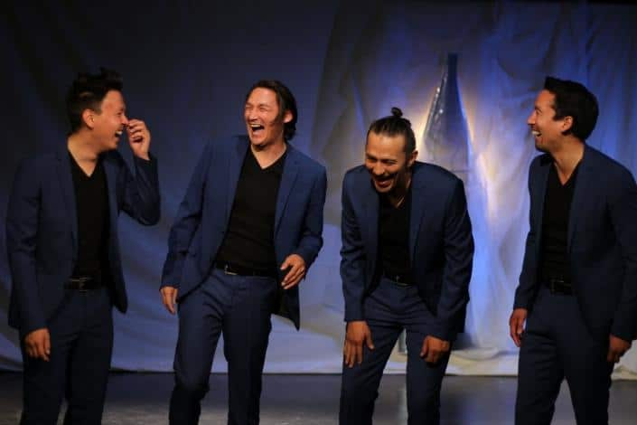 Hans Henrik Suersaq, Klaus Geisler, Kristian Mølgaard and Miki Jacobsen in Angutivik from The National Theatre of Greenland laughing. Photo by Gerth Lyberth - Visit Greenland.jpeg