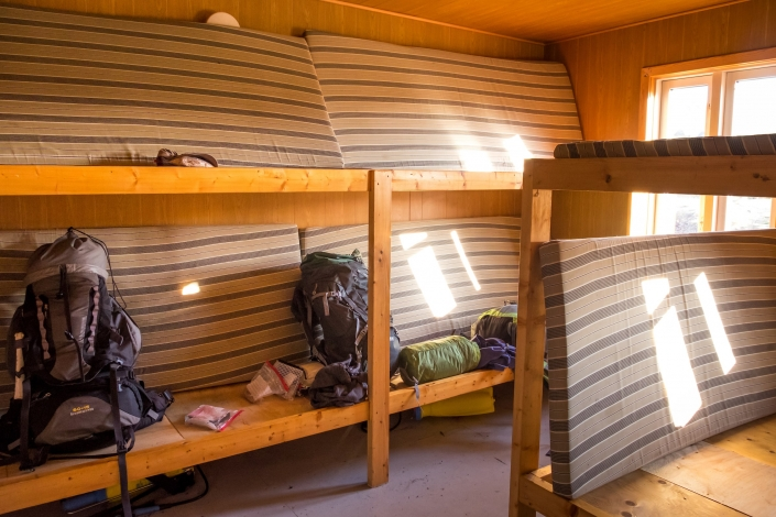Interior Innajuattoq II Hut - dormitory - Day 5 of Arctic Circle Trail. Photo by Lisa Germany