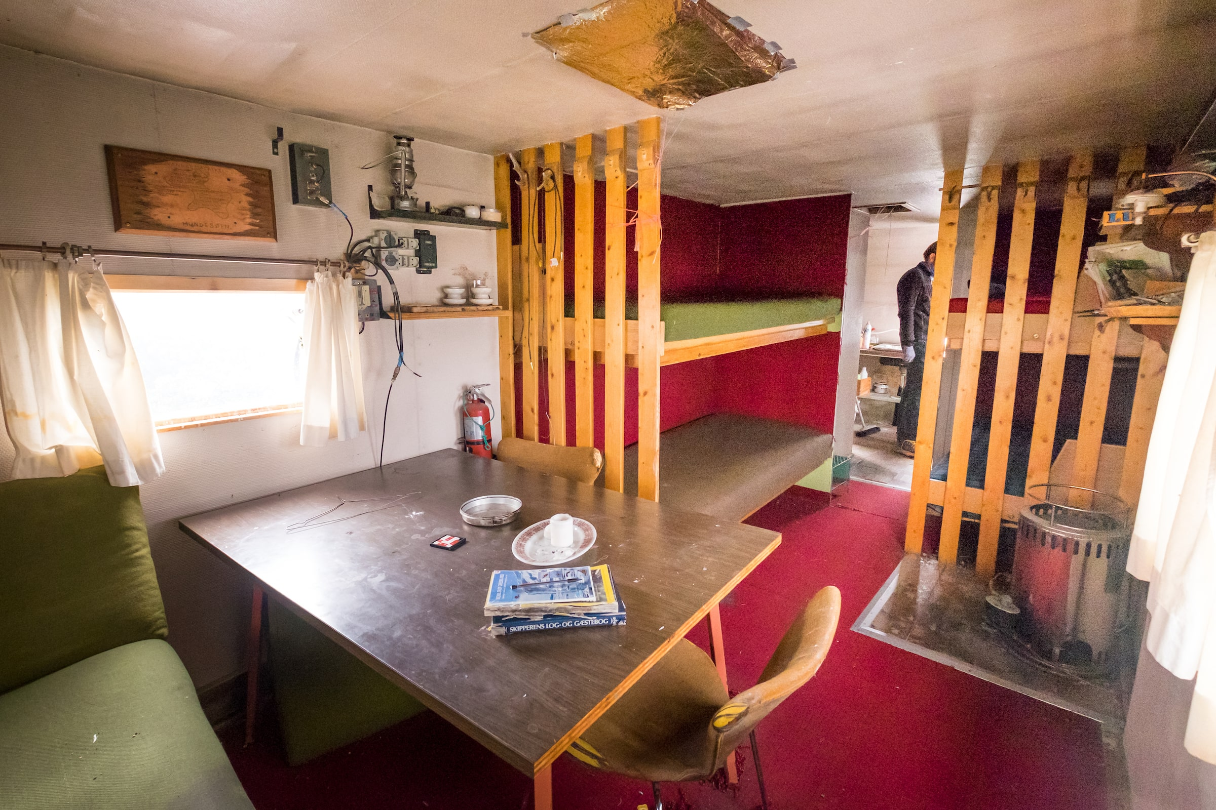 Interior of Hundesø hut - Day 1 of Arctic Circle Trail. Photo by Lisa Germany