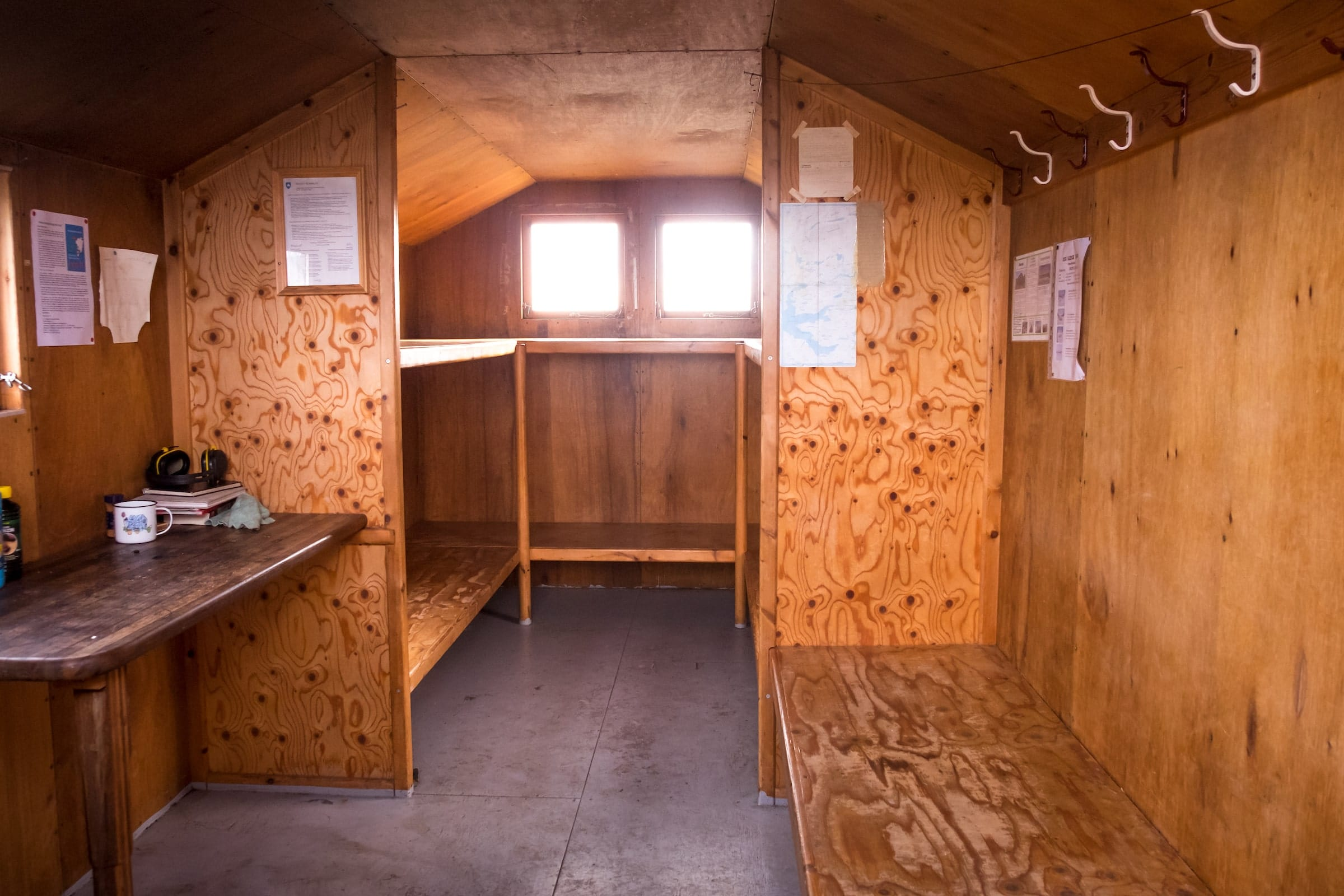 Interior of Ikkattooq Hut - Day 3 of Arctic Circle Trail. Photo by Lisa Germany
