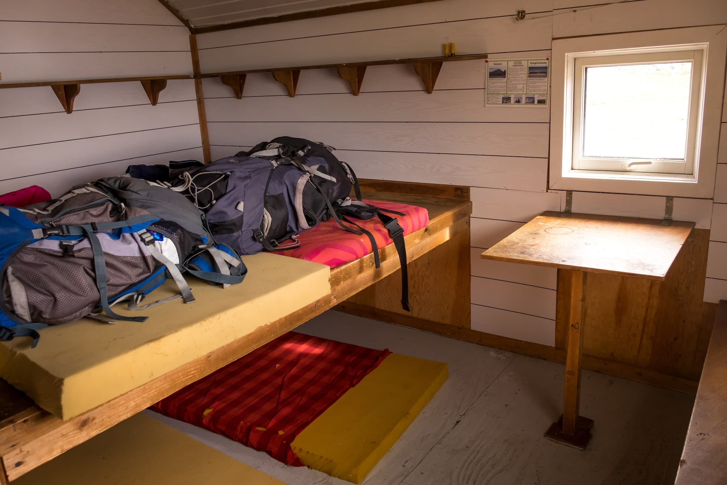 Interior of Innajuattoq Hut I - Day 5 of Arctic Circle Trail. Photo by Lisa Germany