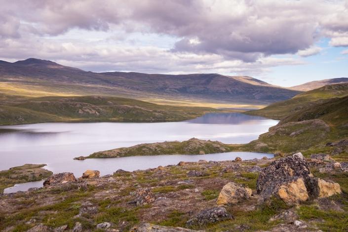 Lake view from Iluliumanersuup Portornga ridge - Day 5 of Arctic Circle Trail. Photo by Lisa Germany.