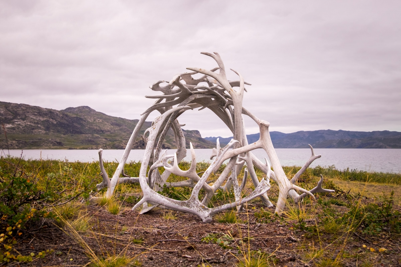 Sculpture made of reindeer antlers - Day 2 of Arctic Circle Trail. Photo by Lisa Germany.