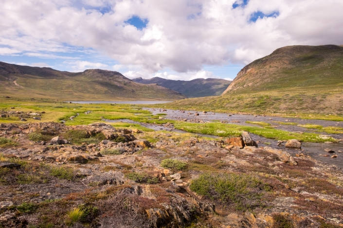 Stony river leading to Innajuattoq Huts - Day 5 of Arctic Circle Trail. Photo by Lisa Germany.