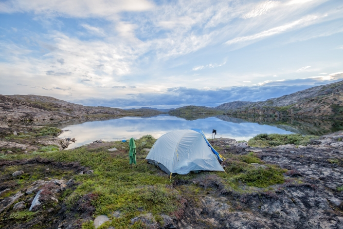 Tent camp on lake near Ikkattooq Hut on the Arctic Circle Trail. Photo by Lina Stock