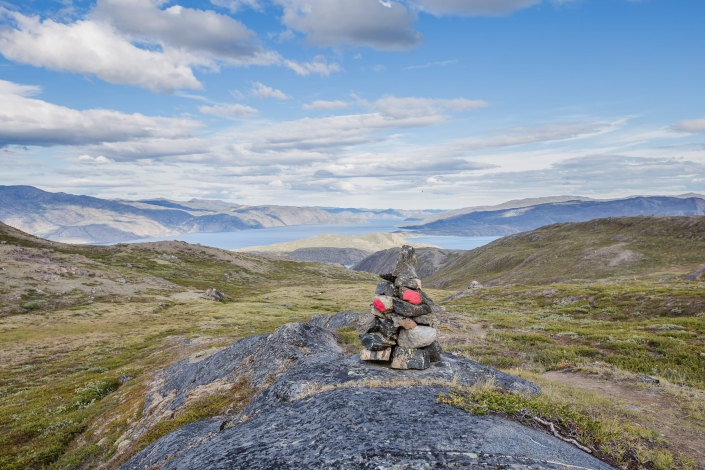 View of Arctic Circle Trail cairn overlooking Tasersuaq Lake. Photo by Lina Stock