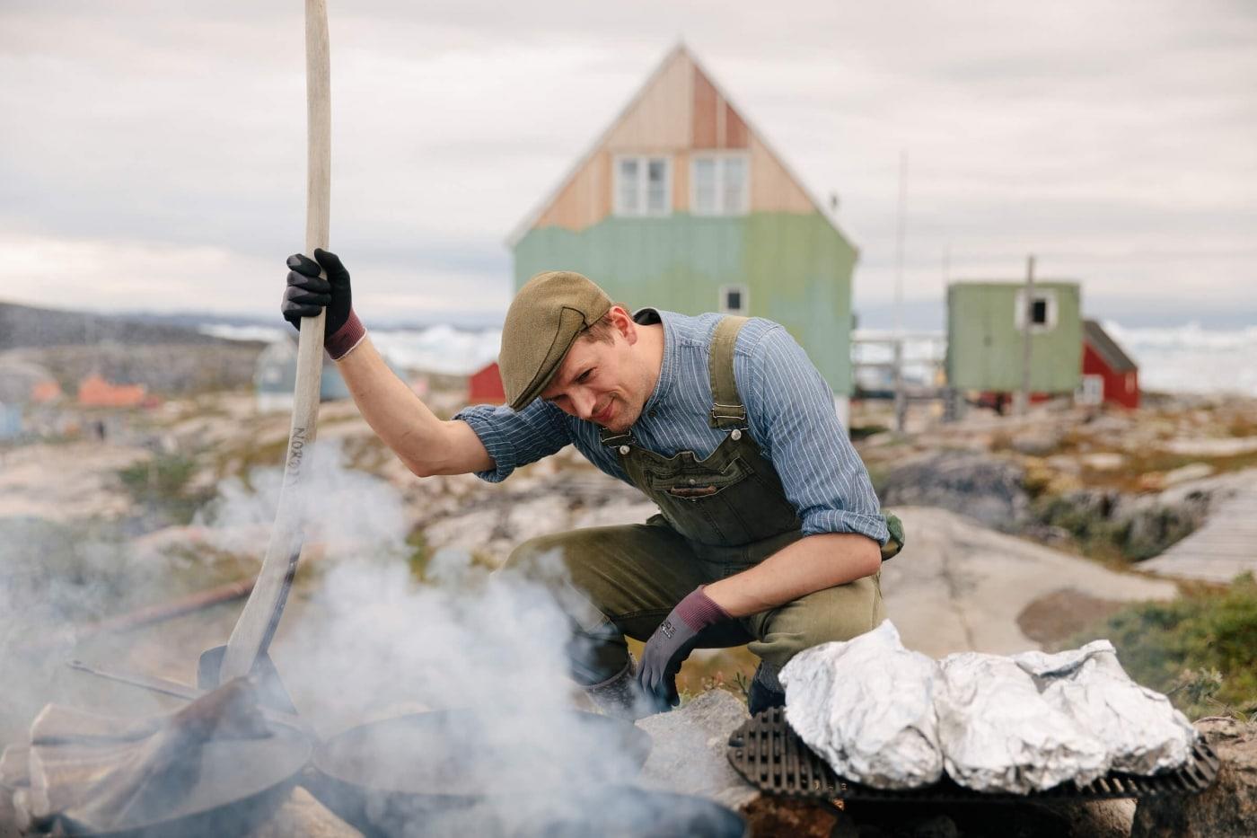 Chef Árni Ólafur Jónsson waits for fish to cook_ii. Photo by Jessie Brinkman Evans - Visit Greenland