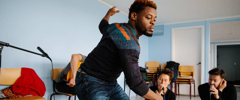 Dancer Qudus Onikeku during an afternoon rehearsal. Photo by Jessie Brinkman Evans - Visit Greenland