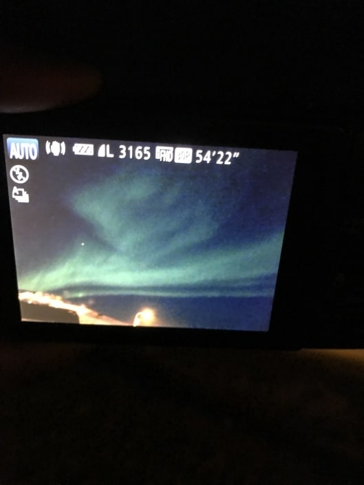 Northern lights from outside our home in Ittoqqortoormiit. Photo by Syazwani Baumgartner