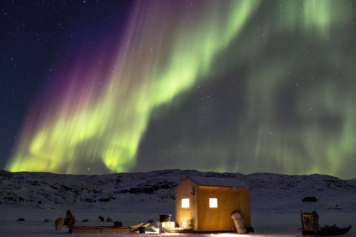 Northern lights with a small hut and sleddogs in the winter. Photo by Guide to Greenland