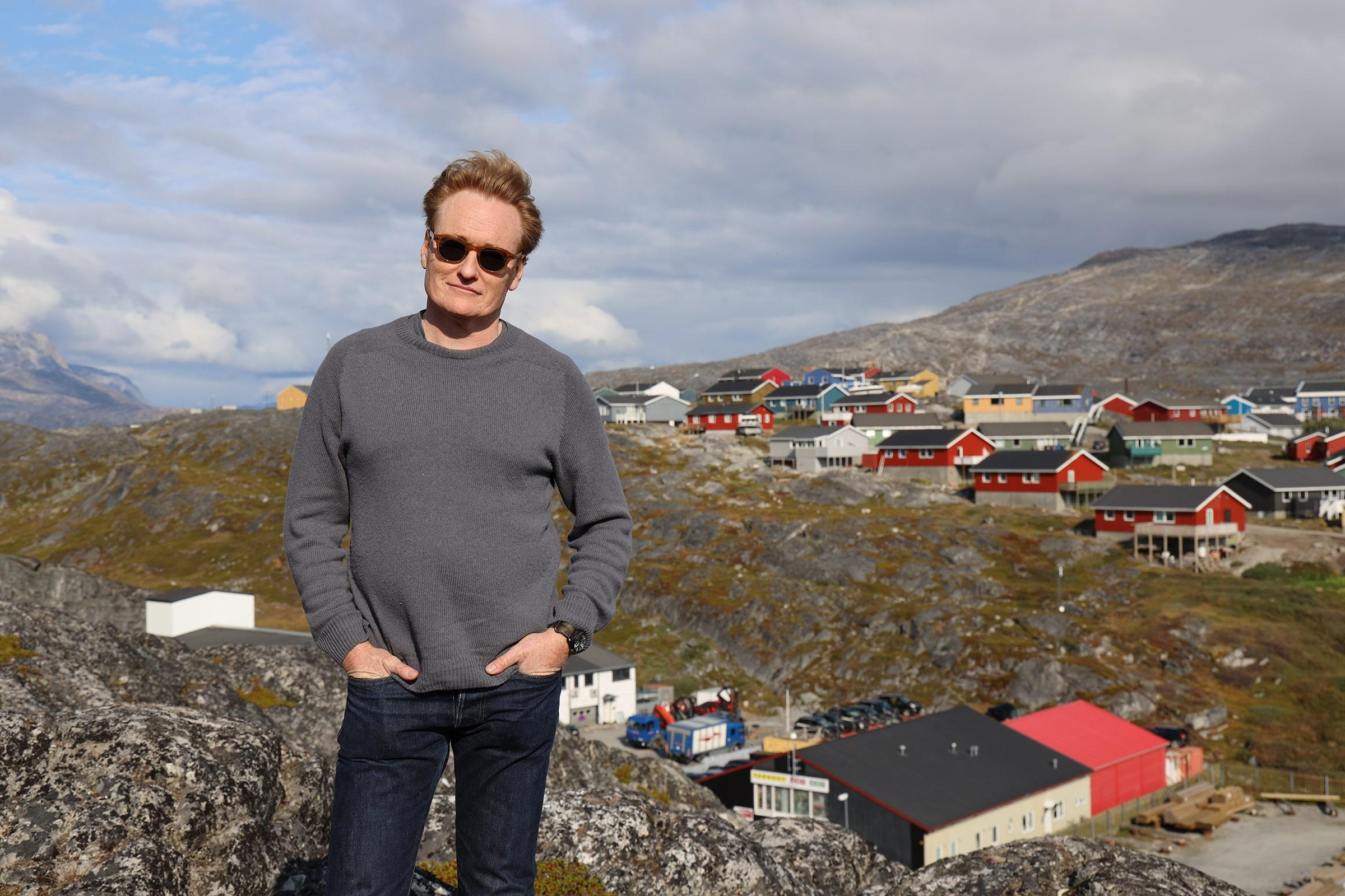 Conan O'Brien and panorama of Nuuk. Photo by Team Coco