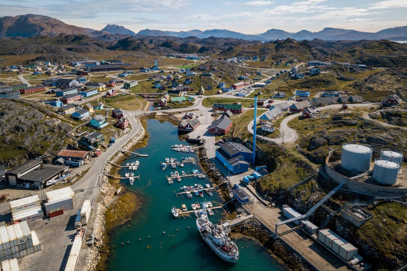 Above the Pamiut harbour. Photo by Aningaaq R Carlsen - Visit Greenland