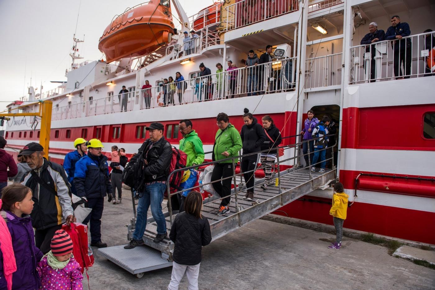 Disembarking to Qeqertarsuatsiaat from Sarfaq Ittuk in Greenland. Photo by Arctic Umiaq Line A/S