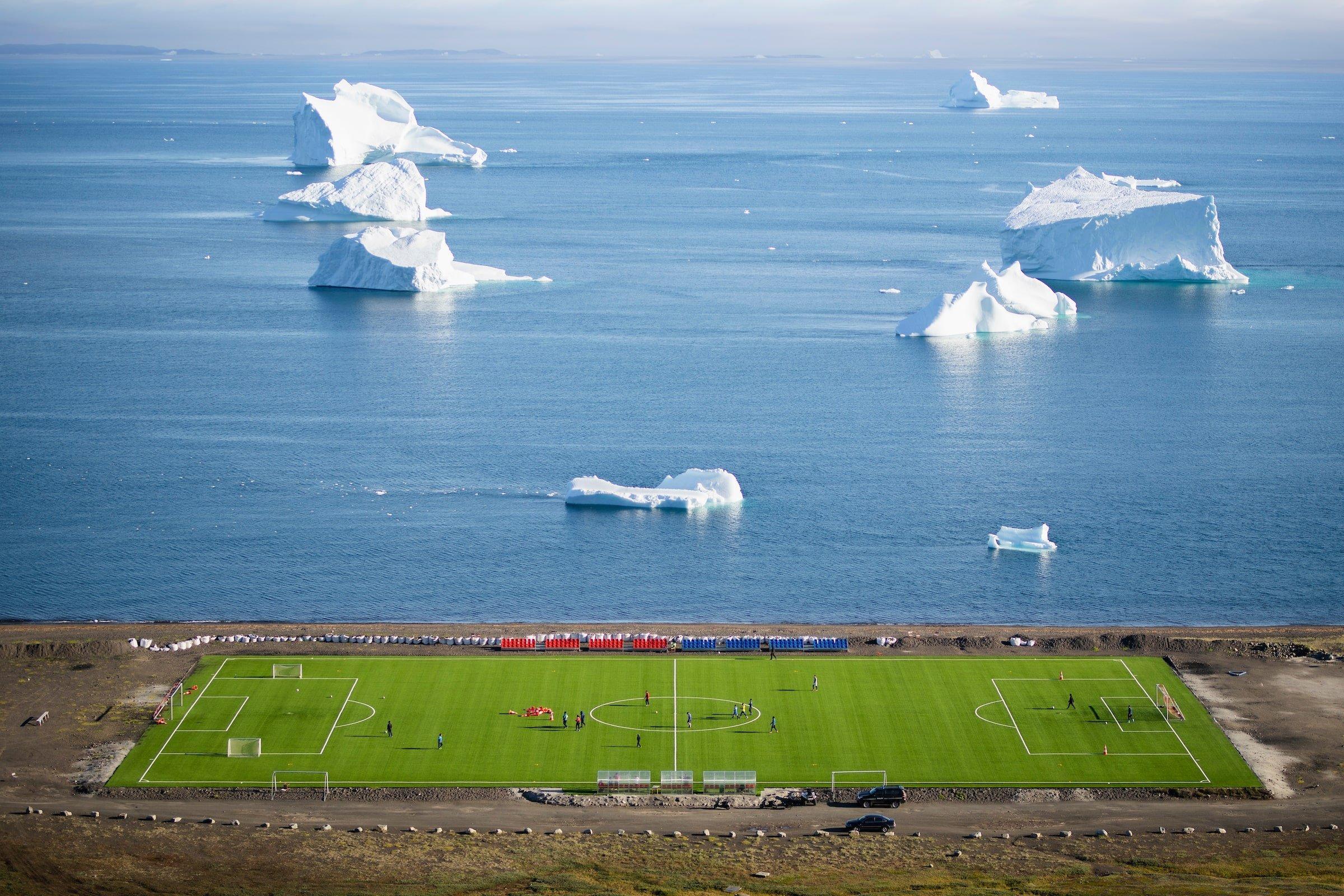 Football Field Aerial, Qeqertarsuaq. Aningaaq Rosing Carlsen - Visit Greenland