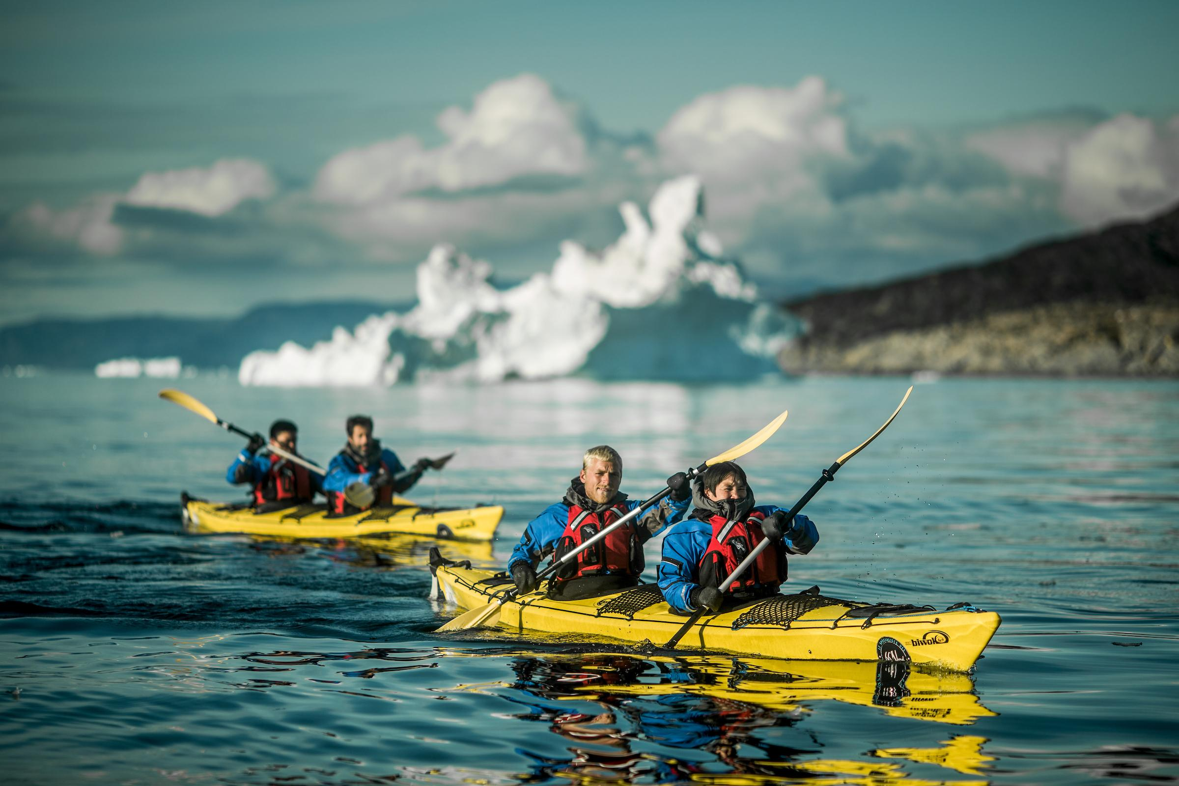 Kayaking in the Disko Bay with PGI Greenland near Oqaatsut. Photo by Mads Pihl - Visit Greenland