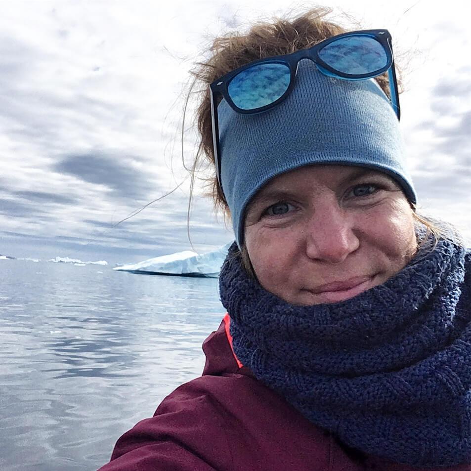 Line - second founder of Sermilik Adventures. Photo - Selfie by Line on a boat trip in the Sermilik fjord