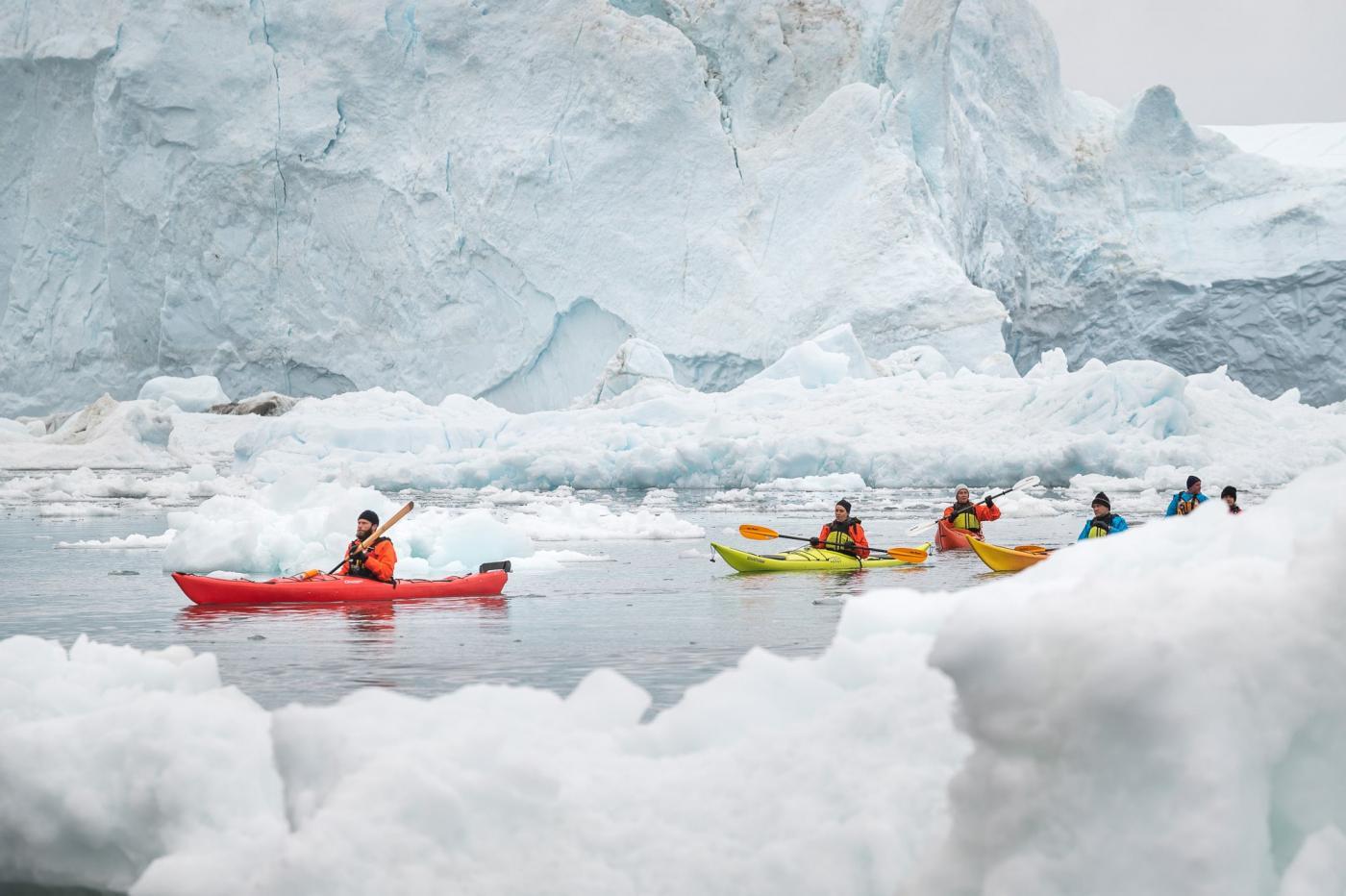 Kajakker foran isbjerge Philip. Photo by David D. Grant