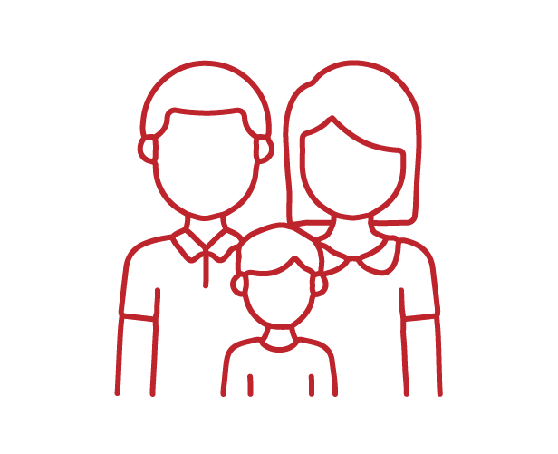 lined icon of a family