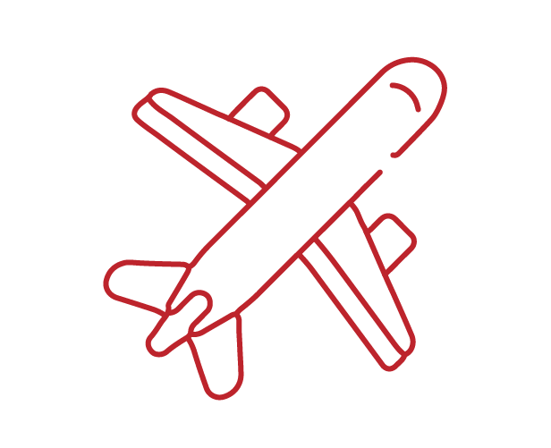 lined icon of a plane