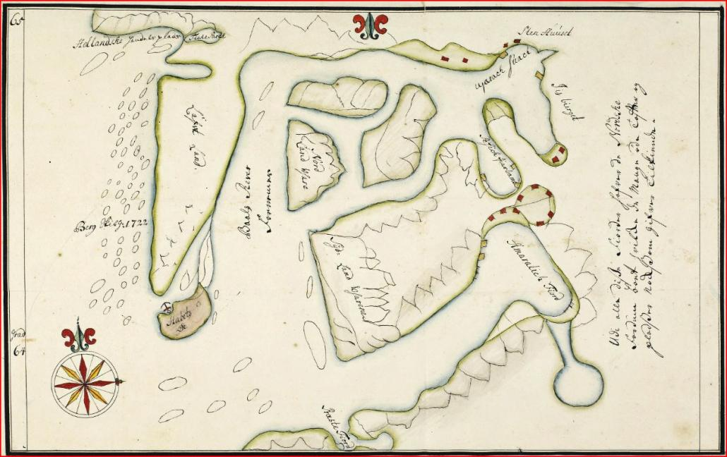 Håbets Ø and its surroundings. Mapped by Hans Egede in 1722.