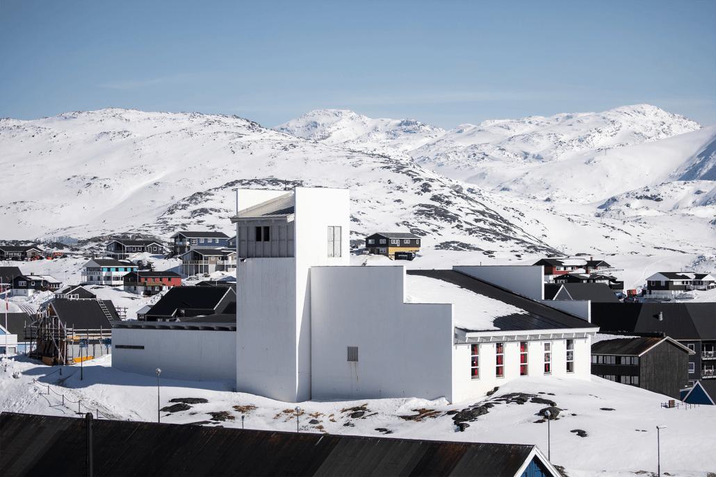 Hans Egede Church in Nuuk. Photo by Aningaaq R. Carlsen - Visit Greenland