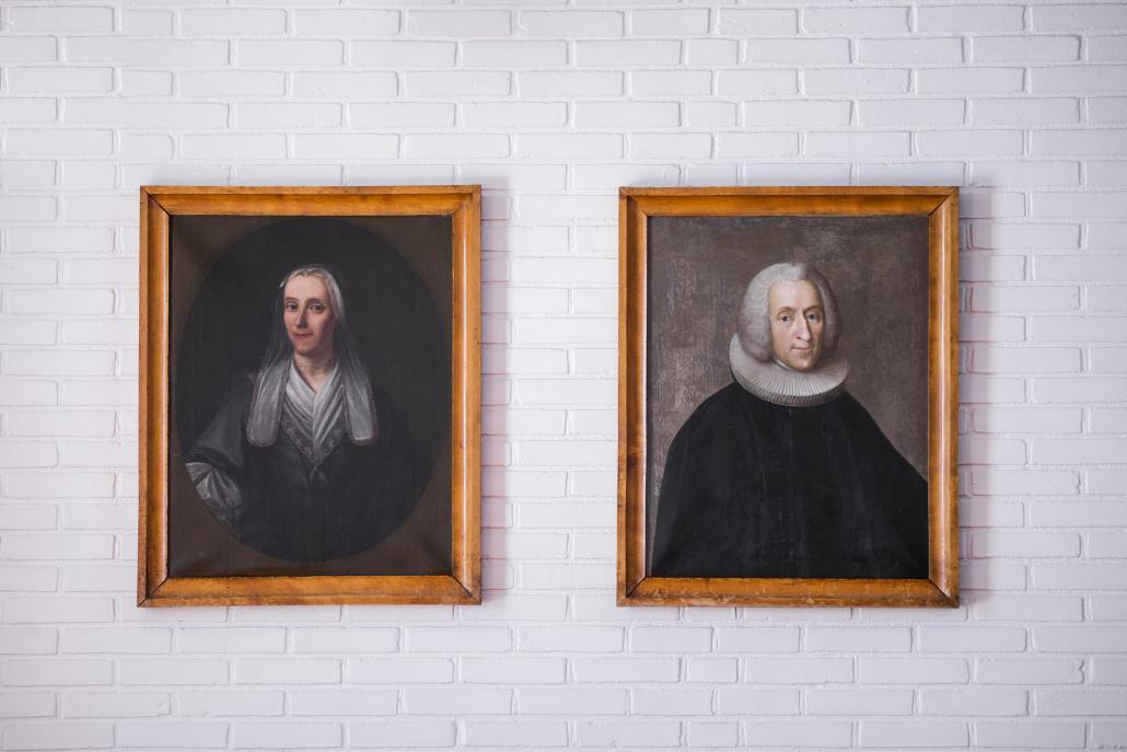 Portraits of Gertrud Rask (Hans Egede's wife) and Hans Egede in Hans Egede Church in Nuuk. Photo - Aningaaq R. Carlsen - Visit Greenland.