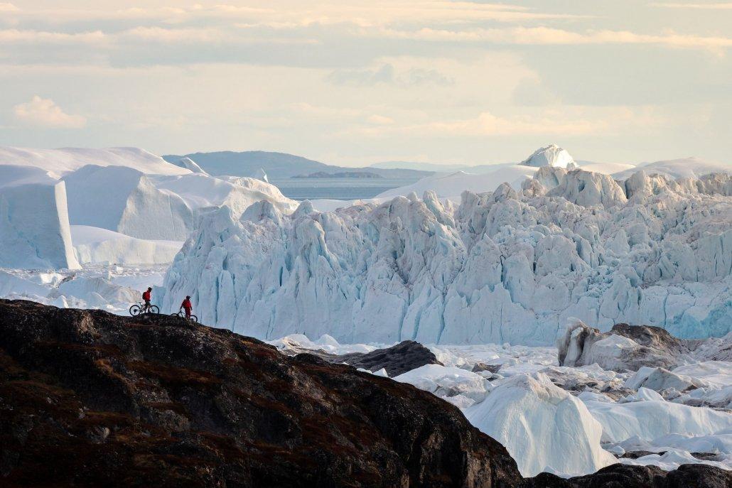 Two Mountain Bikers at Icefjord. Photo - Ben Haggar, Visit Greenland