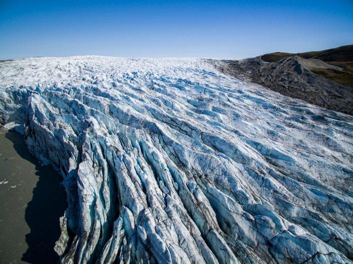 Russel glacier aerial on sunny day. Photo-Aningaaq R Carlsen - Visit Greenland