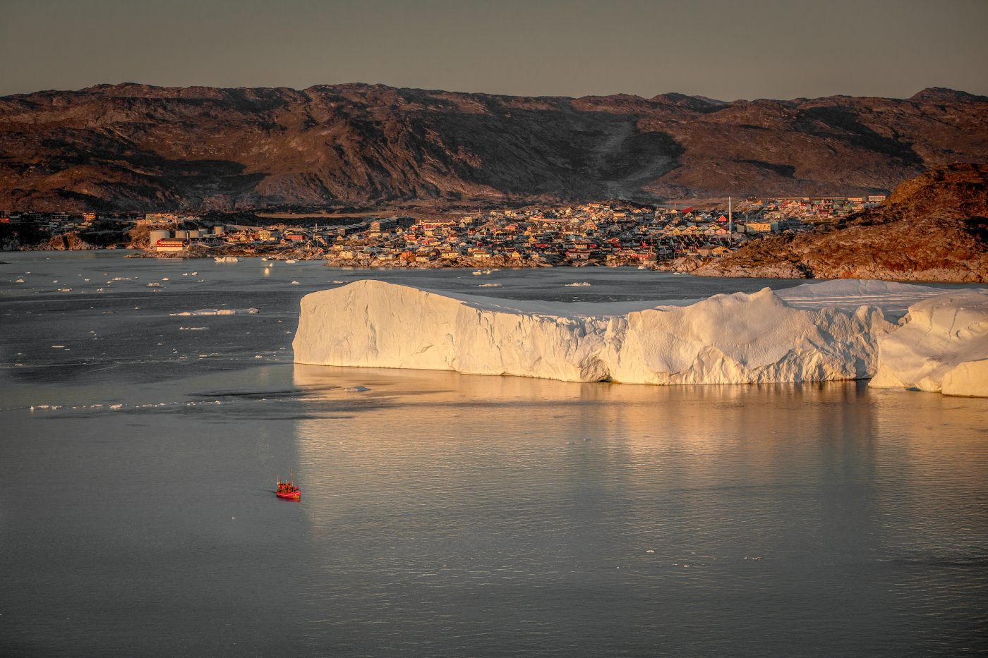 A big table iceberg near Ilulissat at the Kangia ice fjord in Greenland