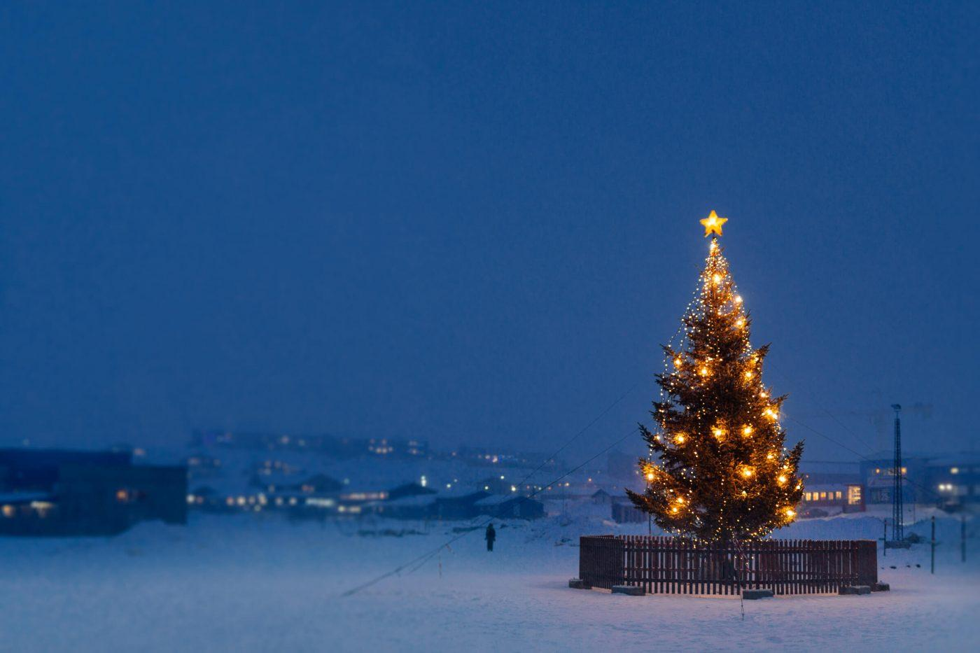 A Christmas tree in Nuuk in Greenland on a snowy december afternoon. Photo by Rebecca Gustafsson - Visit Greenland