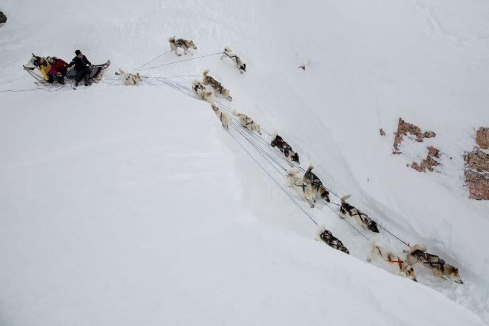 A dog sled seen from above near Sermilik in East Greenland. By Mads Pihl