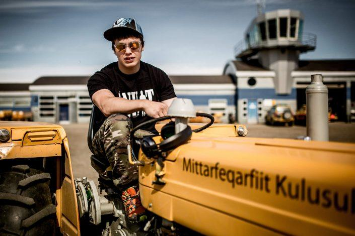 A portrait of Ujarneq Sørensen who works in the control tower at Kulusuk Airport in East Greenland. Photo by Mads Pihl