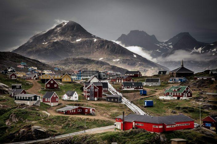 A rainy day view over Tasiilaq in East Greenland. By Mads Pihl
