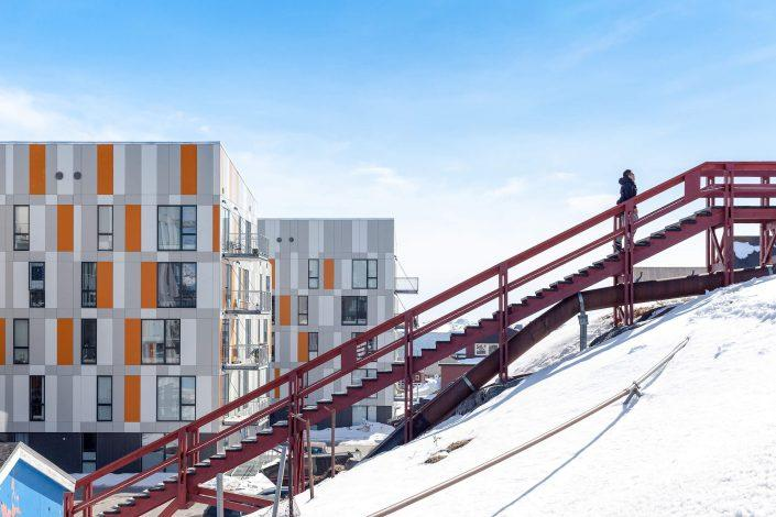 A sunny winter day in Nuuk with typical modern Greenlandic city housing. Photo by Siggi Anton