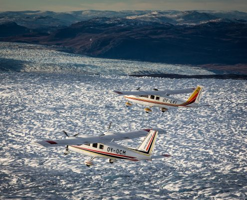 A view of two Air Zafari flightseeing planes over the Greenland Ice Sheet near Kangerlussuaq Airport
