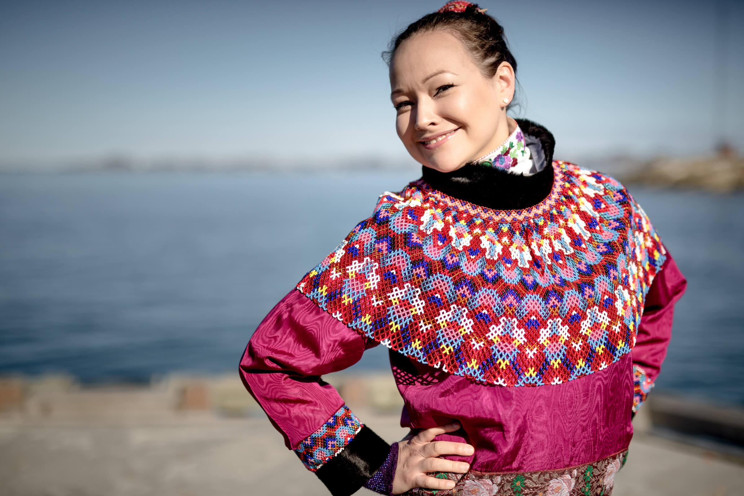 A women from Nuuk in Greenland wearing her national