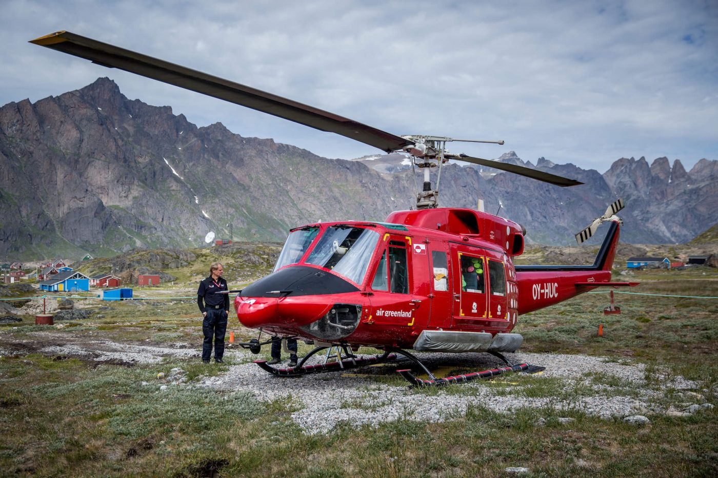 An Air Greenland Bell 212 helicopter in Narsarmiit. Photo by Mads Pihl