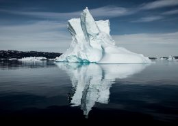 The reflection of an iceberg in the Disko Bay