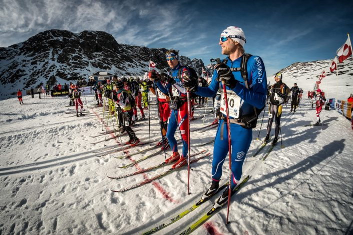 Skiers preparing for the start of day two of the Arctic Circle Race