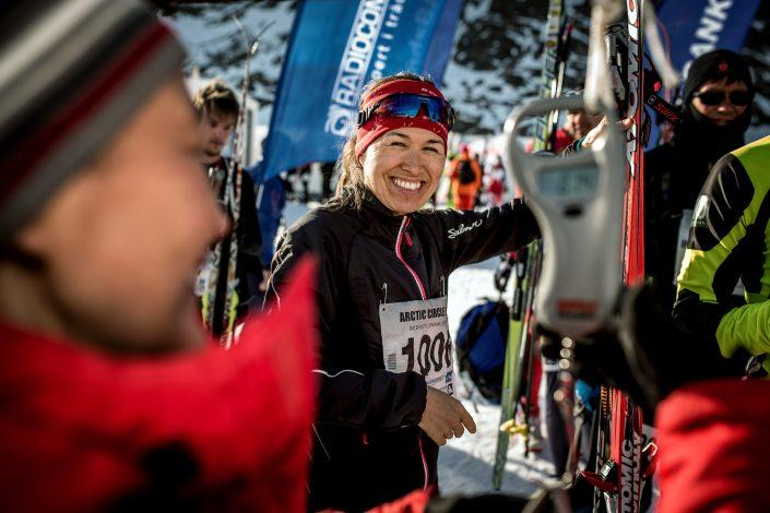 Skier smiles before start of Arctic Circle Race