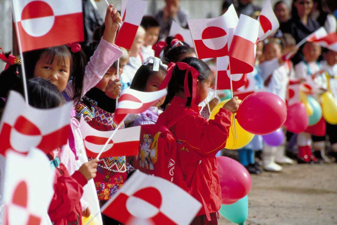 Children celebrating the first day of school in Greenland. Photo by Visit Greenland