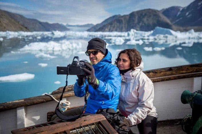 Modern selfie culture meets ancient glacial ice in Narsarsuaq, South Greenland. Photo by Mads Pihl, Visit Greenland