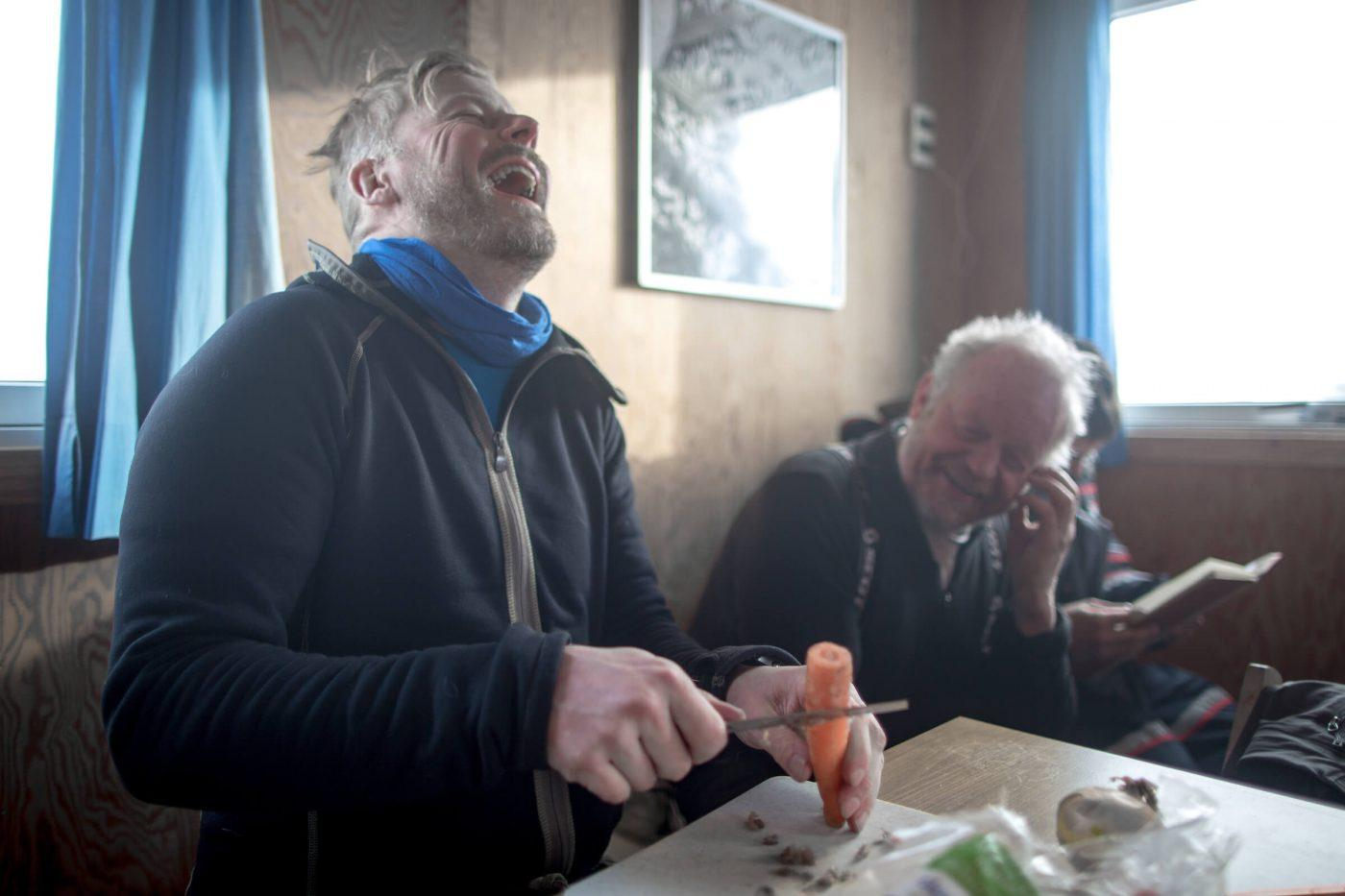 Cutting carrots is always fun on a ski touring trip in East Greenland. By Mads Pihl