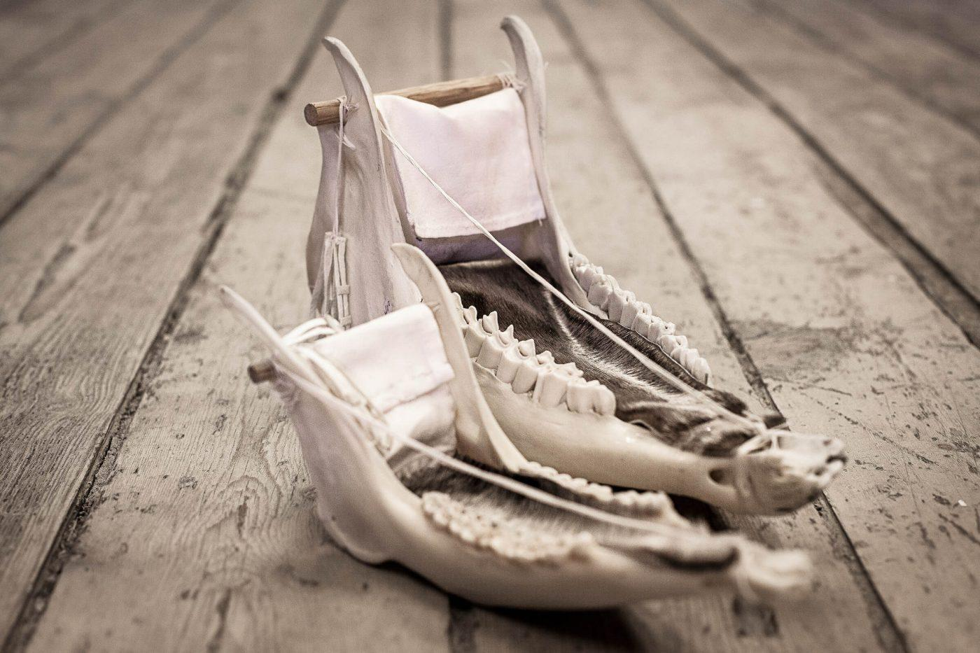 Dog sleds made from animal jaws by Pauline from Sisimiut in Greenland, by Mads Pihl