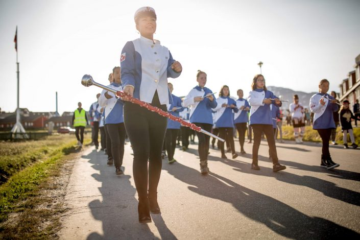 Festivals - The marching band of Nuuk in Greenland at the National Day parade on June 21