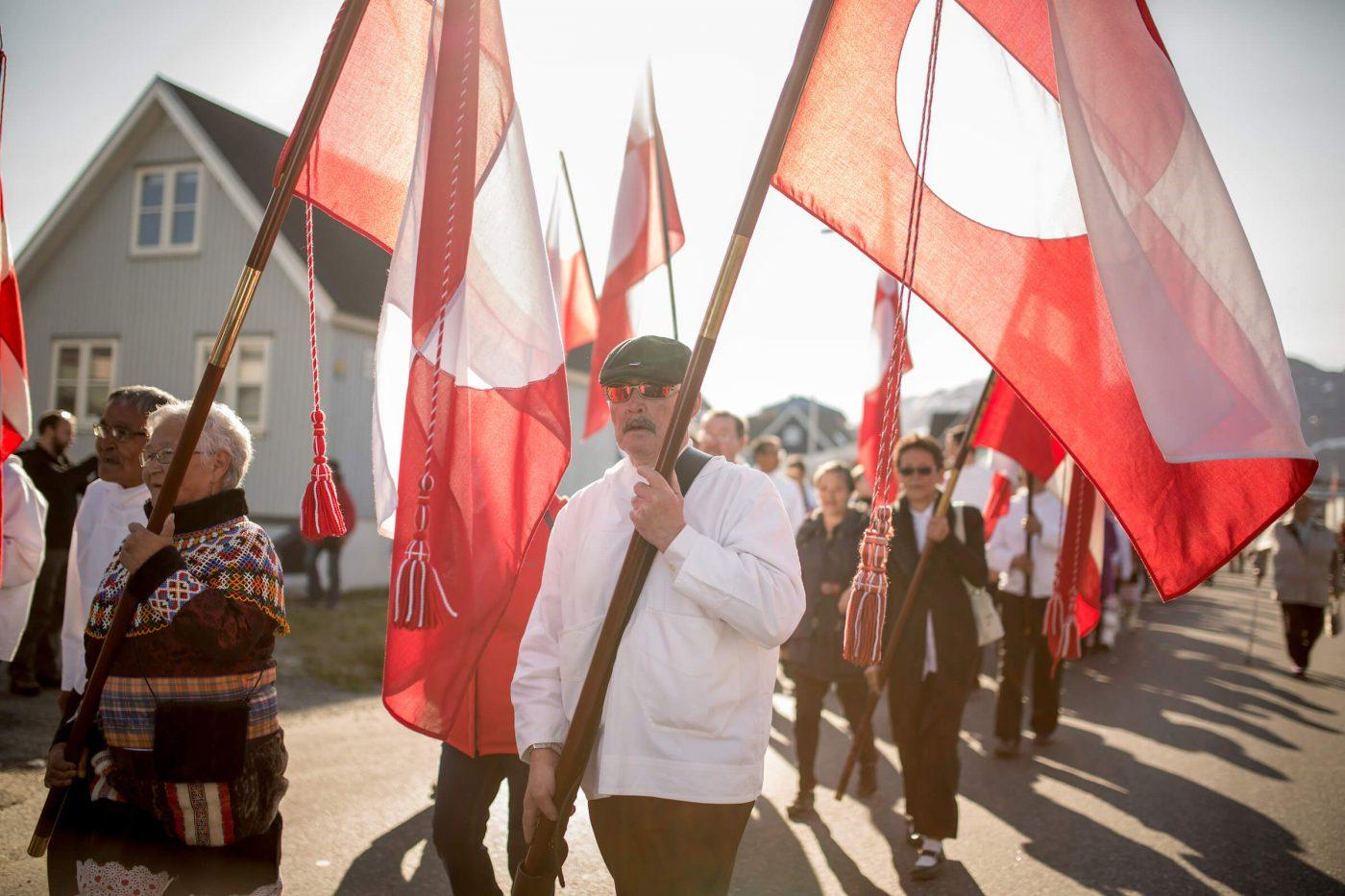 Flag bearers at the National Day Parade in Nuuk in Greenland on June 21, by Mads Pihl